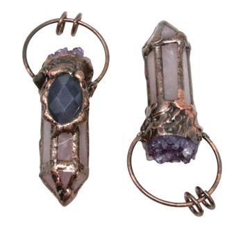 Druze Amethyst / Rose Quartz Antique Copper Plated Prism Pendant