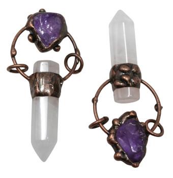 Crystal Quartz / Amethyst Antique Copper Plated Prism Pendant
