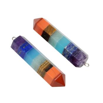 Chakra Prism Multi Gemstone 13x42mm Pendant