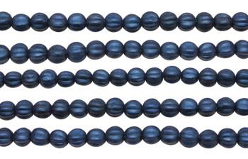 Czech Glass 5mm Melon --  Metallic Blue Suede