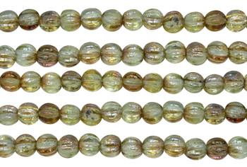 Czech Glass 5mm Melon --  Chrysolite Celsian
