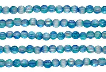 Czech Glass 5mm Melon --  Coated Deep Sea Blue