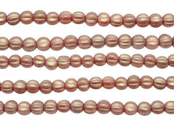 Czech Glass 5mm Melon --  Sueded Gold Ruby