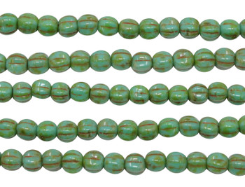 Czech Glass 5mm Melon --  Turquoise Picasso