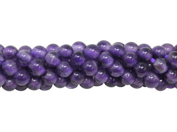 Amethyst A Grade Polished 6mm Round - 2mm Large Hole