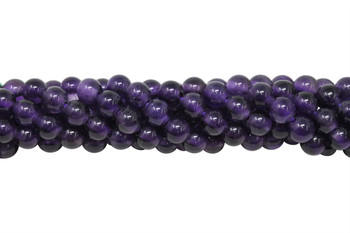 Amethyst A Grade Polished 8mm Round - 2mm Large Hole