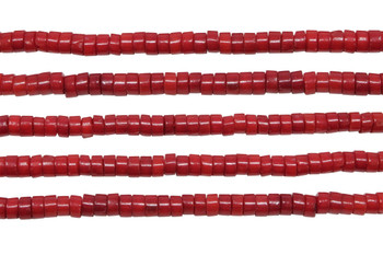 Red Coral Dyed Polished 4x2mm Wheel