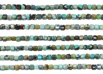 Natural Turquoise Polished 2mm Faceted Cube