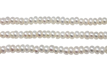 Freshwater Pearls A Grade White 6mm Button - 2mm Large Hole