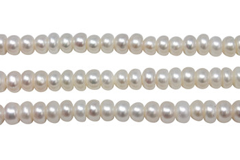 Freshwater Pearls A Grade White 7-8mm Button - 2mm Large Hole