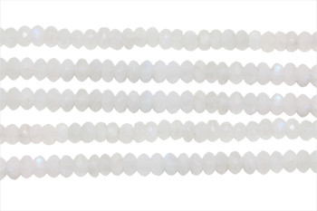 Rainbow Moonstone AA Grade Polished 4x6mm Faceted Rondel