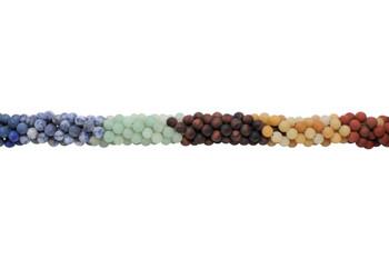 Mixed Chakra Gemstones Matte 6mm Round