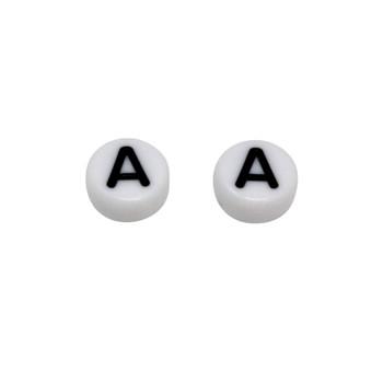 Acrylic White and Black Alphabet Bead - A