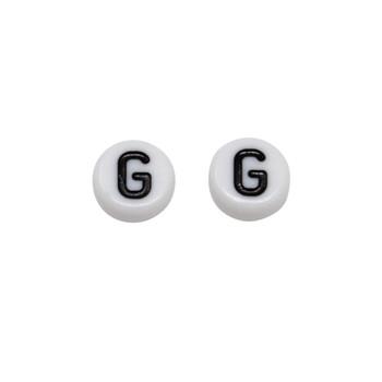 Acrylic White and Black Alphabet Bead - G