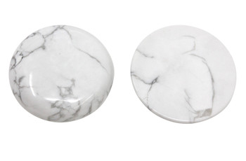 White Howlite Polished 30mm Cabochon Coin