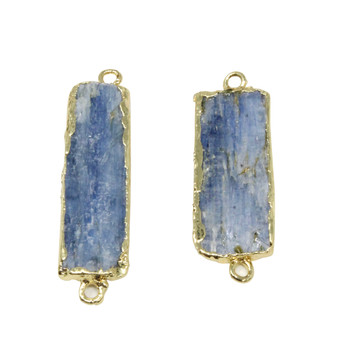 Kyanite Gold Plated Edge 10x36mm Rectangle Pendant Connector