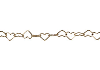 14K Gold Plated 5.3mm Heart Chain - Sold By 6 Inches