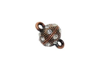Micro Pave Antique Copper 11x8mm Round Magnetic Clasp