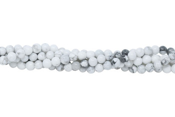 Howlite A Grade Polished White 4mm Round