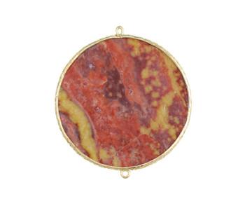 Red Jasper Gold Framed Drop Connector