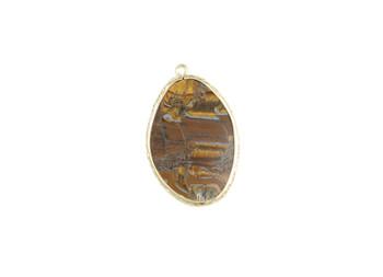 Tiger Iron Gold Framed Flat Pendant