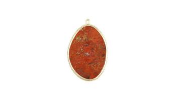 Poppy Jasper Gold Framed Flat Pendant