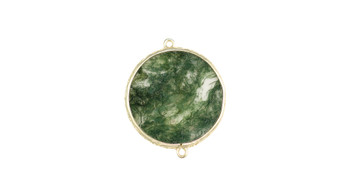 Small Moss Agate Gold Framed Flat Connector