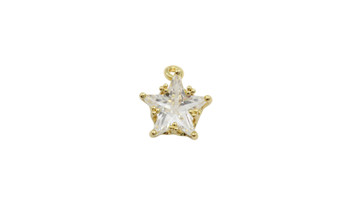 Gold 12mm CZ Star Micro Pave Charm