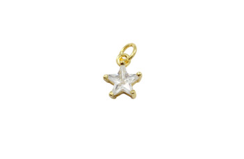 Gold 8mm CZ Star Micro Pave Charm