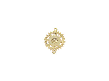 Gold 16mm Framed Sun Micro Pave Connector