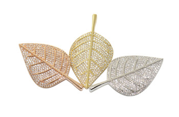 Silver 42mm Leaf Micro Pave Charm
