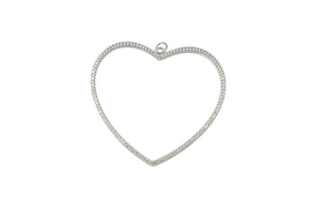 Silver 48mm Open Heart Micro Pave Charm