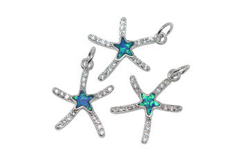 Silver 13x17mm Starfish with Resin Micro Pave Charm