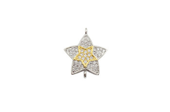 Silver and Gold 14x16mm Star Micro Pave Link