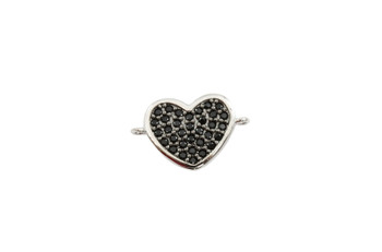 Silver and Black 11x16mm Heart Micro Pave Link