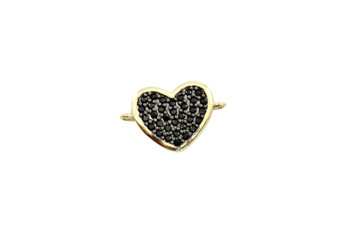 Gold and Black 11x16mm Heart Micro Pave Link