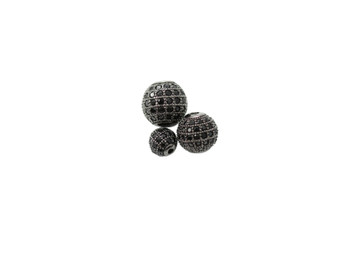 Black 8mm Round Micro Pave Bead