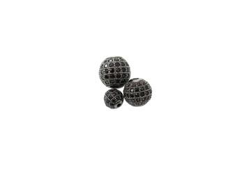 Black 10mm Round Micro Pave Bead