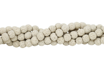 Bead World Exclusive Lava Rock Uncoated Cream 10mm Round
