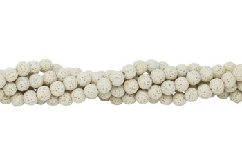 Bead World Exclusive Lava Rock Uncoated Cream 6-7mm Round