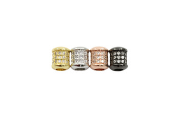 Rose Gold 6x7mm Micro Pave Barrel