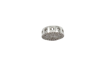 Silver 12mm Micro Pave Cross Coin Connector