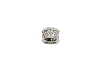 Silver 7x13mm Micro Pave Rondel