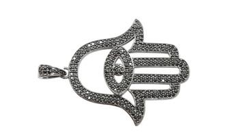 Gunmetal Micro Pave Large Hamsa Hand Pendant