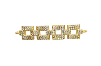 Gold Micro Pave Square Links Connector