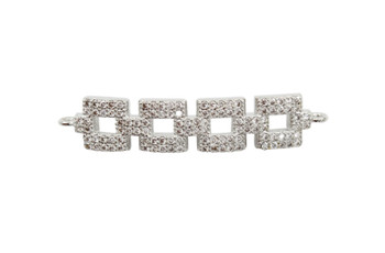 Silver Micro Pave Square Links Connector