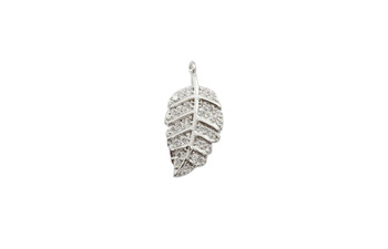 Silver Micro Pave Leaf Charm