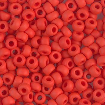 Size 6 Miyuki Seed Beads -- 407F Opaque Vermillion Red Matte