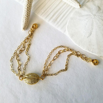Gold Micro Pave Cowrie / Puka Shell Connector