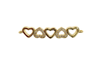Gold Micro Pave Hearts Link